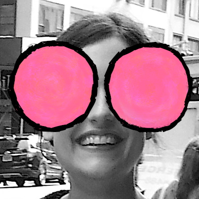 Cast photo of Nicola, with the Modern.Technology bug logo's big pink circle eyes pasted over her own.