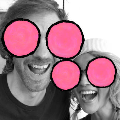 Cast photo of Gabe and Jen of The Dork Web, with the Modern.Technology bug logo's big pink circle eyes pasted over their own.